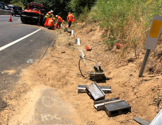 highway 17 big rig crash damage