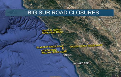 "Four Big Sur roads closed due to ""overwhelming increase"" in visitors"