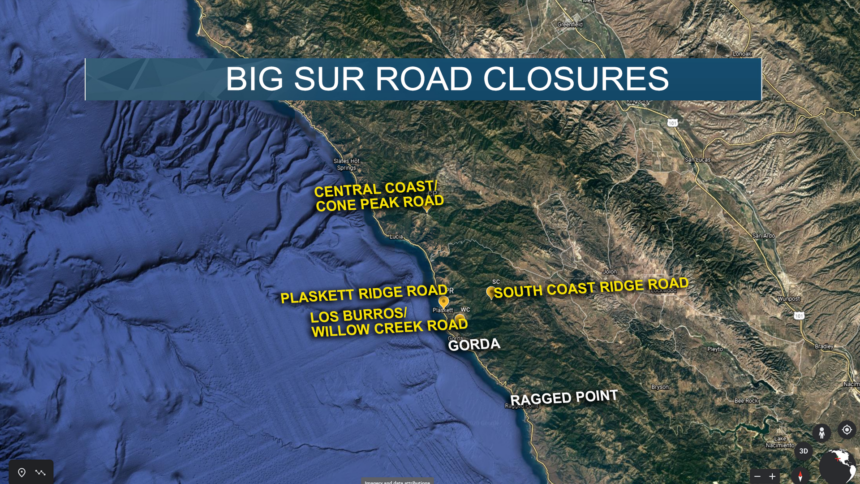"""Four Big Sur roads closed due to """"overwhelming increase"""" in visitors"""