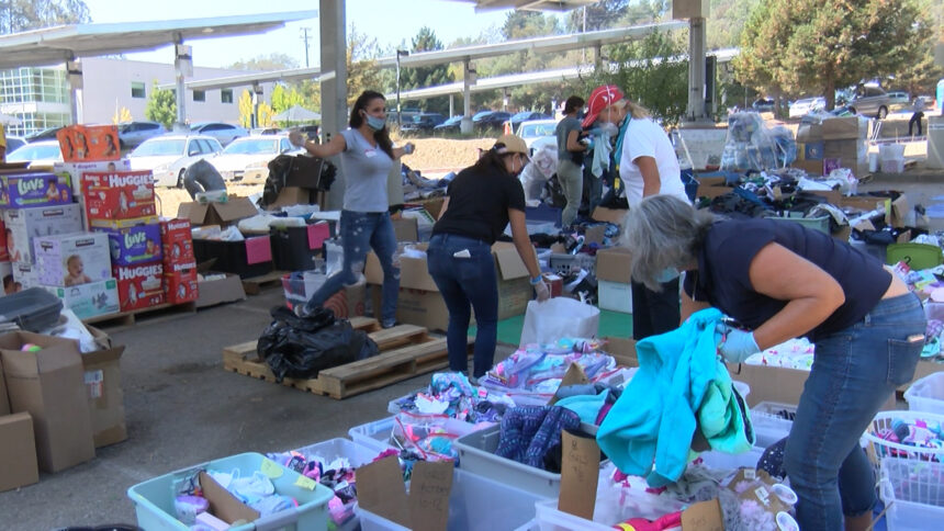 Volunteers working at Santa Cruz Donation Center