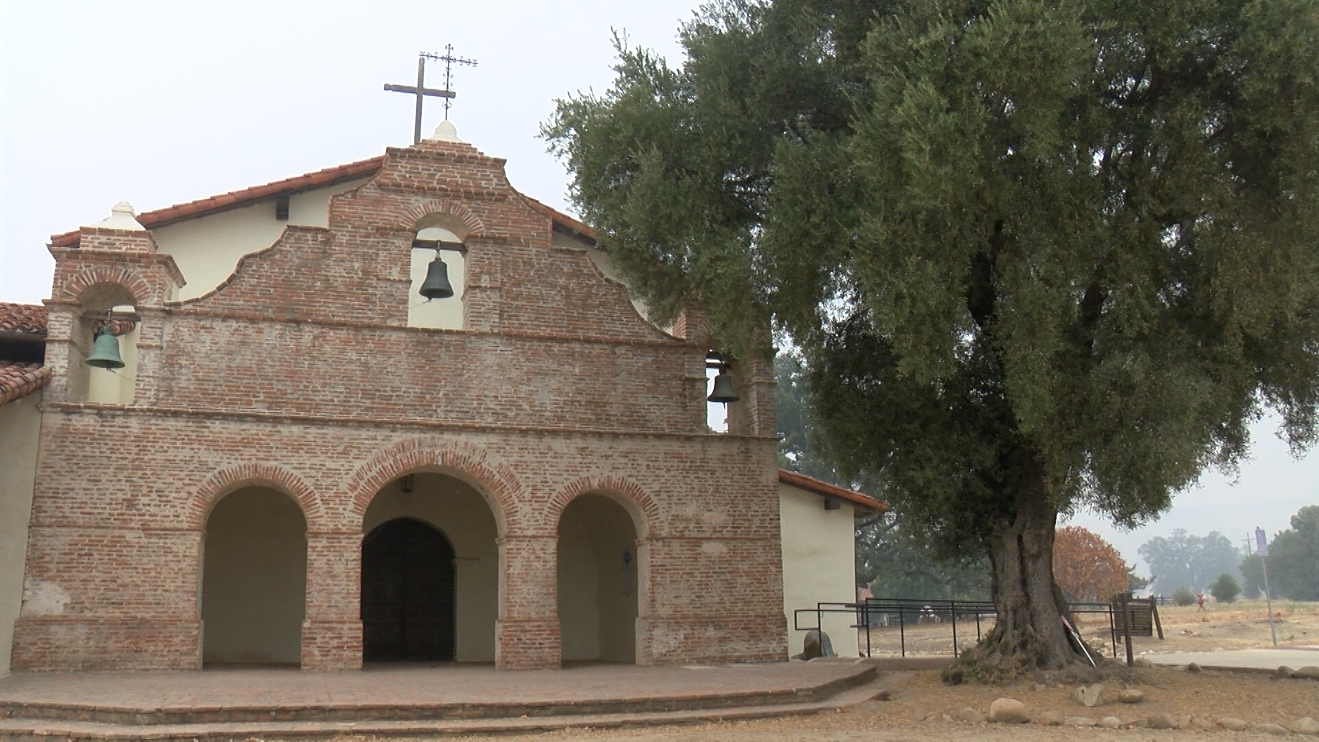 Mission San Antonio de Padua buffering defenses against Dolan Fire