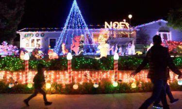 Marina residents celebrating Christmas with holiday lights