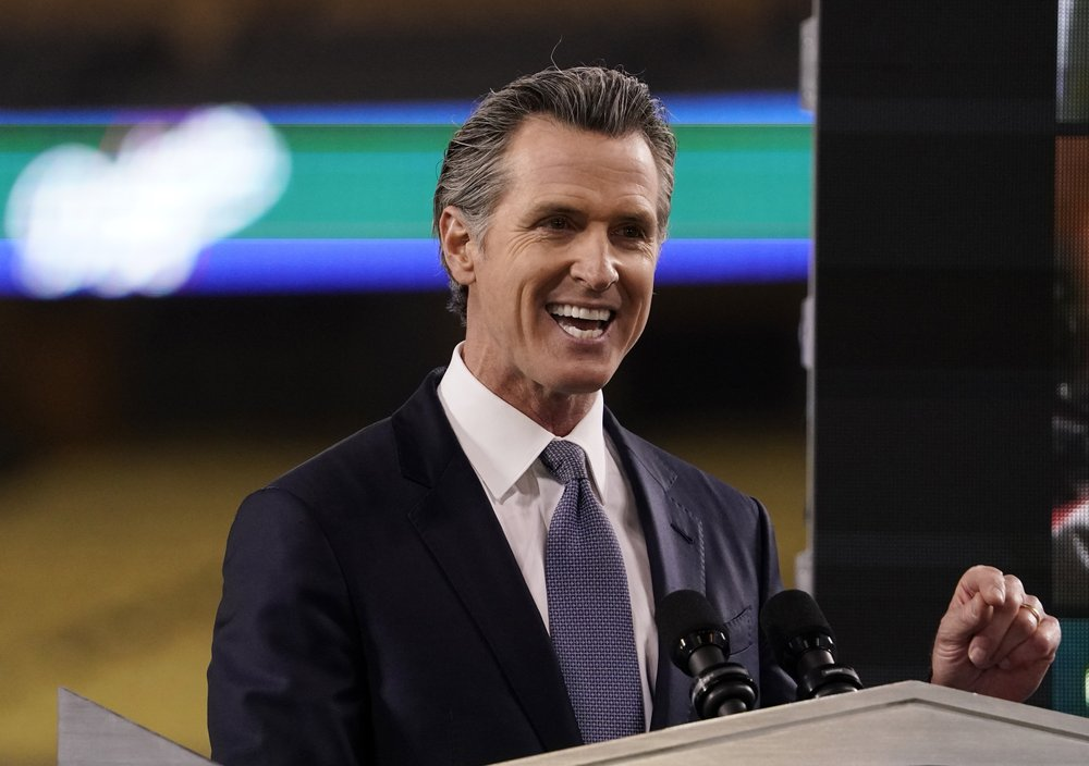 In this Tuesday, March 9, 2021, file photo, California Gov. Gavin Newsom delivers his State of the State address from Dodger Stadium in Los Angeles. Newsom and his Democratic allies launched a political committee Monday, March 15 to stop a proposed recall election that could oust him from office.