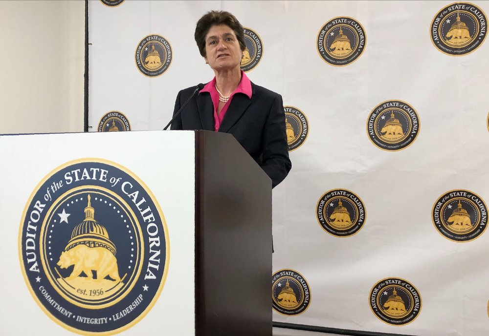 In this Oct. 24, 2019, file photo, California State Auditor Elaine Howle speaks during a news conference in Sacramento, Calif. A new audit says California did not meet its goal of hiring contact tracers for the pandemic. The California Department of Public Health set a goal of 31,400 contact tracers statewide. But the state had 12,100 contact tracers in January when the virus was spreading rapidly. Howle said even if the state had met its goal it still would not have been enough.