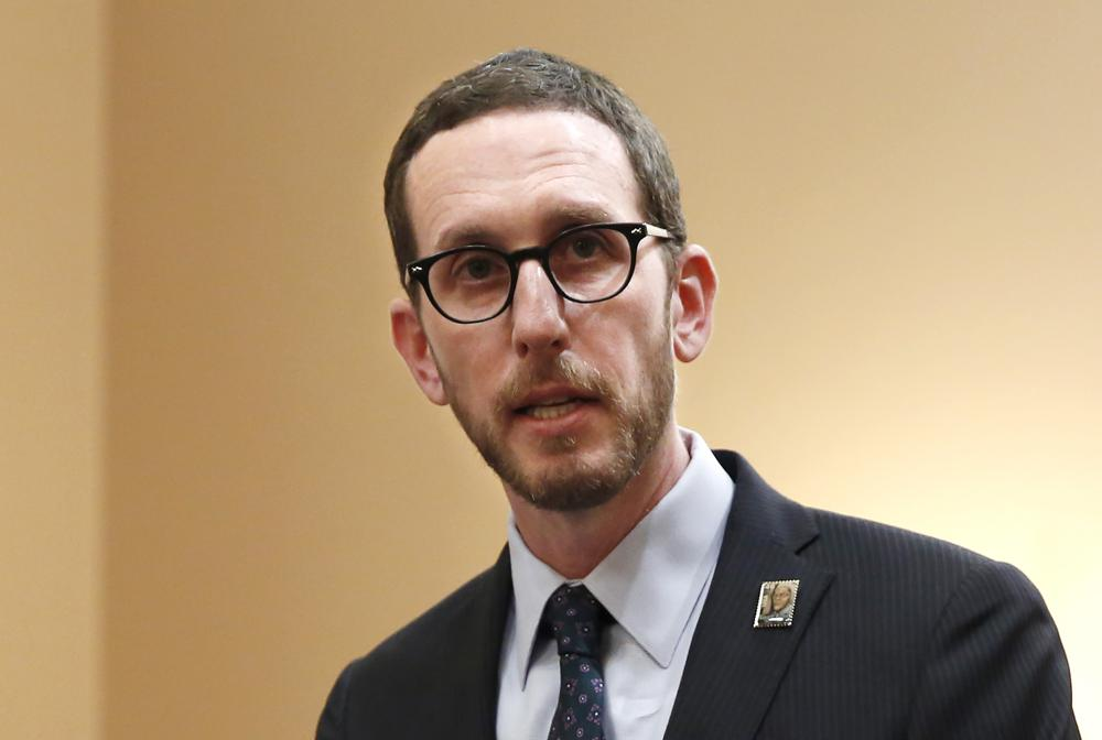 FILE - In this Jan. 21, 2020, file photo, state Sen. Scott Wiener, D-San Francisco, speaks at a news conference in Sacramento, Calif. The California Senate approved a bill Thursday, April 22, 2021, that would allow opioid users a place to inject drugs in a supervised setting.