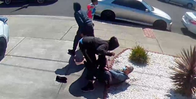 Security camera image shows an 80-year-old man being attacked and robbed on the 14200 block of Acapulco Road in San Leandro.