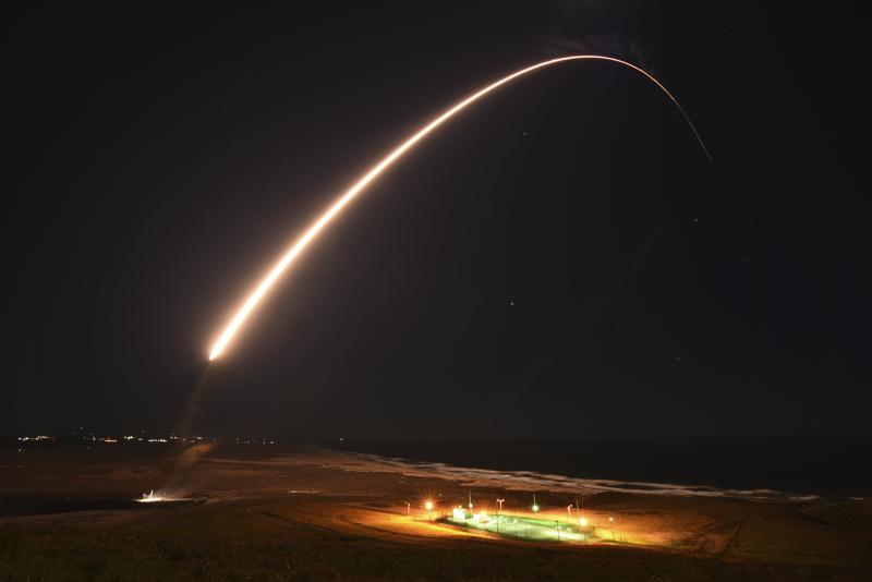 FILE - In this Feb. 23, 2021, file photo released by the U.S. Army Space and Missile Defense Command, an unarmed Minuteman 3 intercontinental ballistic missile launches during an operation test at Vandenberg Air Force Base, Calif. California's Vandenberg Air Force Base will be renamed as a U.S. Space Force Base. The name will be changed to Vandenberg Space Force Base during a ceremony Friday, May 14, 2021, on the parade field. The sprawling Central Coast base tests ballistic missiles and conducts orbital launches for defense, science and commercial purposes.