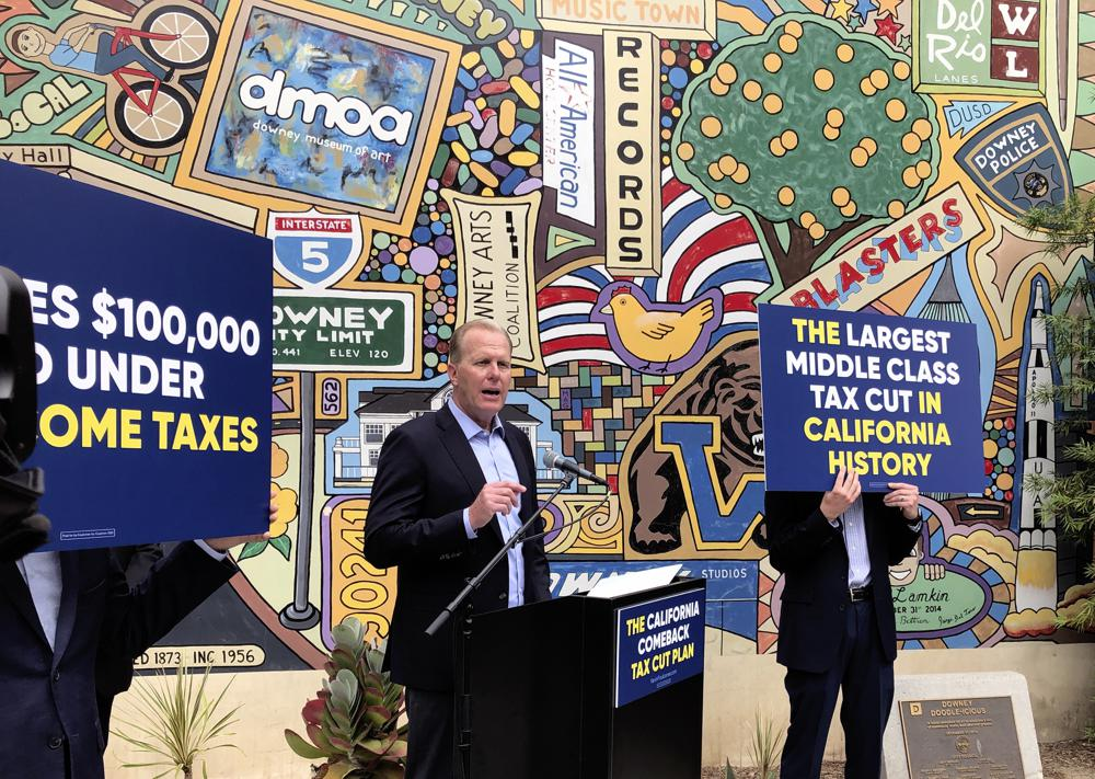 Kevin Faulconer, a Republican candidate for California governor, speaks during a news conference, Wednesday, May 12, 2021, in Downey, Calif, where he announce his $15 billion tax-cut proposal. Faulconer wants to eliminate California's state income tax for individuals making up to $50,000 and households up to $100,000 as part of a proposal to make the state more affordable for families and the middle class.