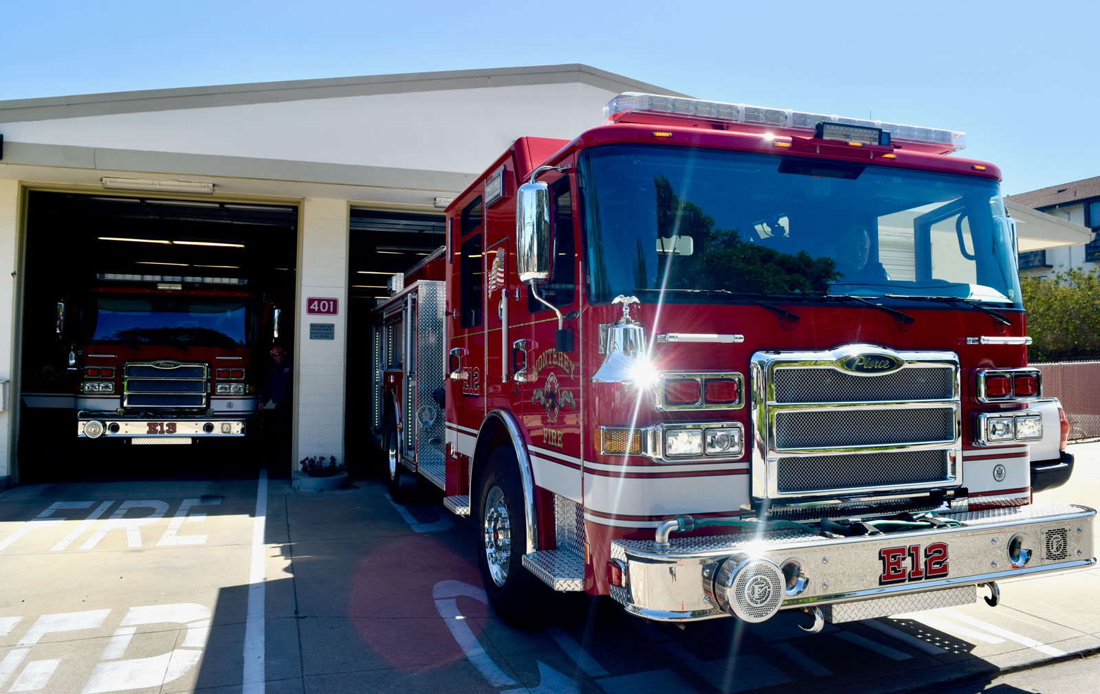 This photo shows new fire engines that are replacing the same type that the City got in 2002.
