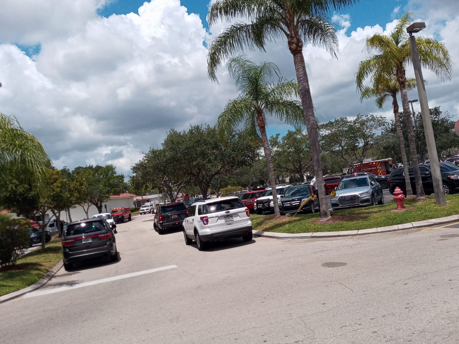 Two people were shot and killed inside a Publix in Royal Palm Beach, Florida, according to the Palm Beach County Sheriff's office. Police cars and fire trucks surround the area.