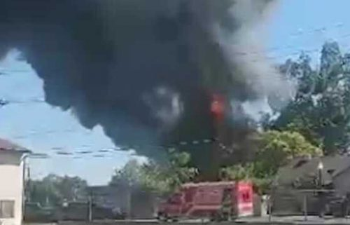 Fire crews and good Samaritans battled a blaze on June 20 that sparked at a tire shop in north Sacramento and spread to a nearby church.