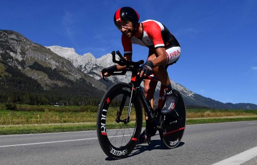 Ahmad Badreddin Wais is seen competing in the 52.5km time-trial race from Rattenberg to Innsbruck  at the 91st UCI Road World Championships in September 2018.