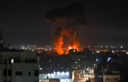 Explosions above buildings in Gaza City early on June 16