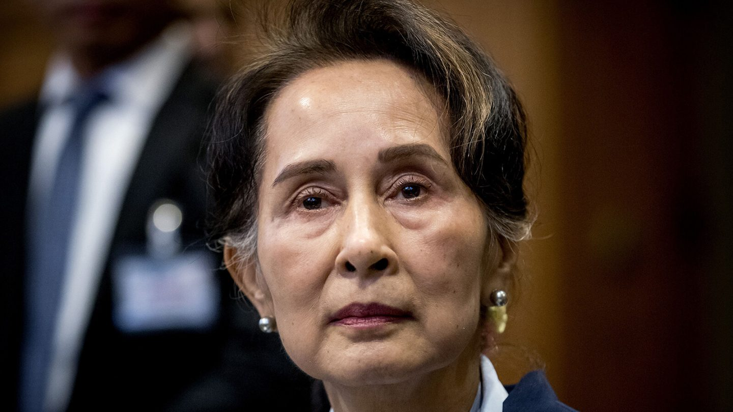 <i>Koen Van Weel/ANP/AFP/Getty Images</i><br/>Myanmar's State Counselor Aung San Suu Kyi looks on before the UN's International Court of Justice on December 11