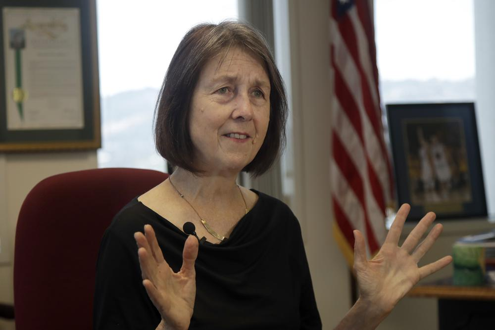 FILE - In this Sept. 30, 2019, file photo, Democratic state Sen. Nancy Skinner is interviewed at her office in Oakland, Calif. On Tuesday, June 1, 2021, Democratic leaders in the California Legislature said they think the state will have about $20 billion more to spend by 2025. Their proposal highlights a disagreement with Gov. Gavin Newsom on the trajectory of the state's finances. Newsom is urging a more cautious approach by spending money on one-time proposals instead of things that require ongoing funding. Skinner, chair of the Senate committee that writes the budget, said the LAO's projections have been more accurate than those of the administration.
