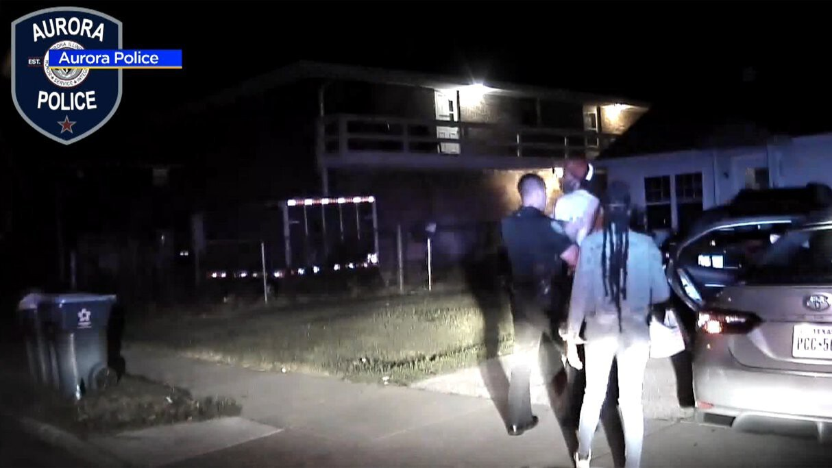 <i>Aurora Police</i><br/>Dash cam video has been released of a traffic stop in Aurora last month in which a police officer was attacked.