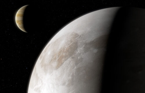 This artist's impression shows Jupiter's moon Ganymede.