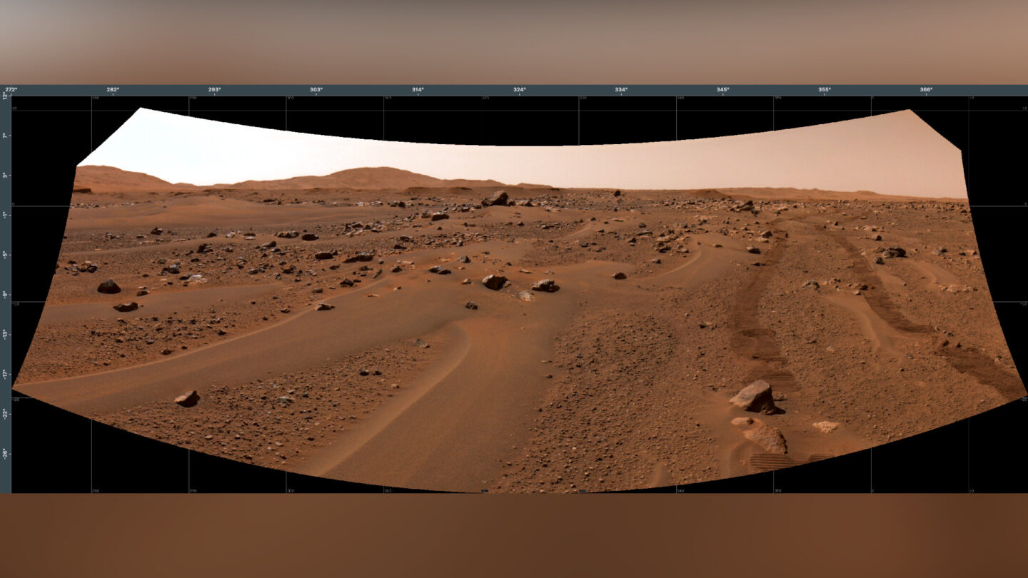 <i>JPL-Caltech/NASA</i><br/>Perseverance took images of its own tracks on Mars on July 3