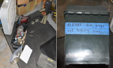 Items found by federal authorities in the home of Thomas Robertson are seen