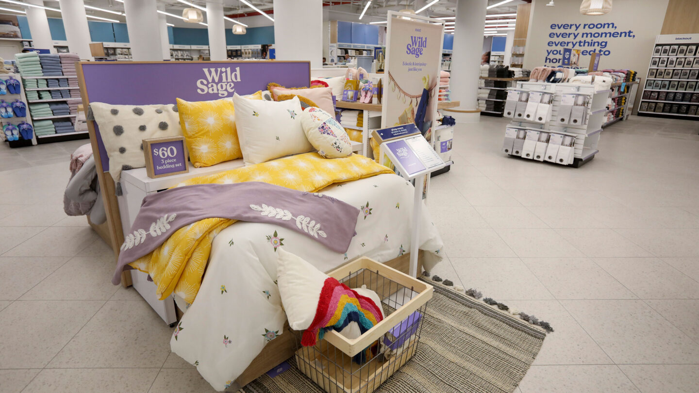 <i>Rob Tannenbaum/Bed Bath & Beyond</i><br/>The new bedding section is seen at the store with Bed Bath & Beyond's private label Wild Sage brand. An executive described the old bedding area as
