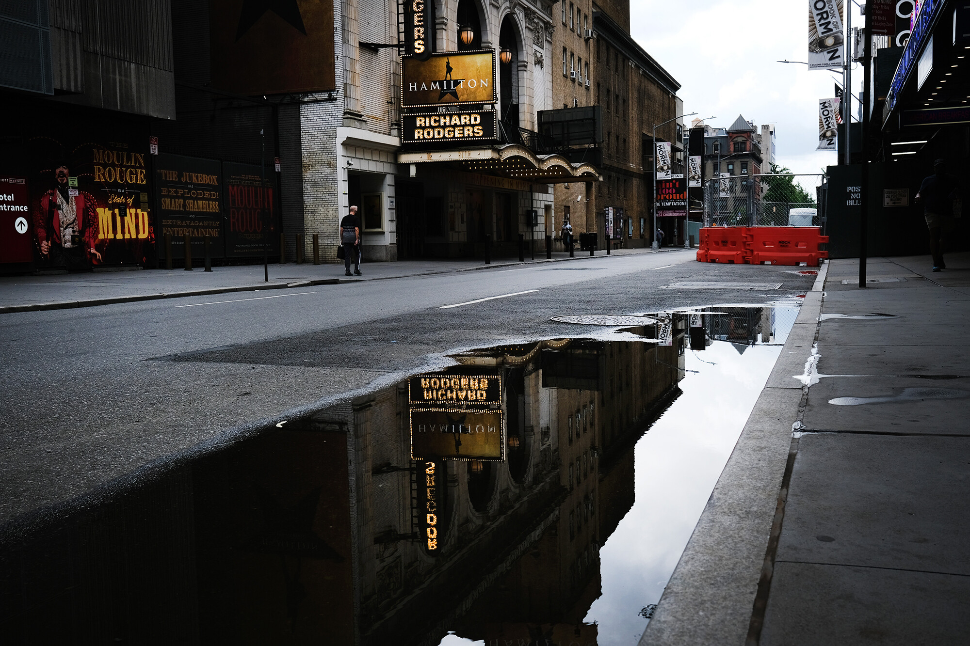 <i>Spencer Platt/Getty Images</i><br/>Broadway theaters stood closed along an empty street in the theater district on June 30