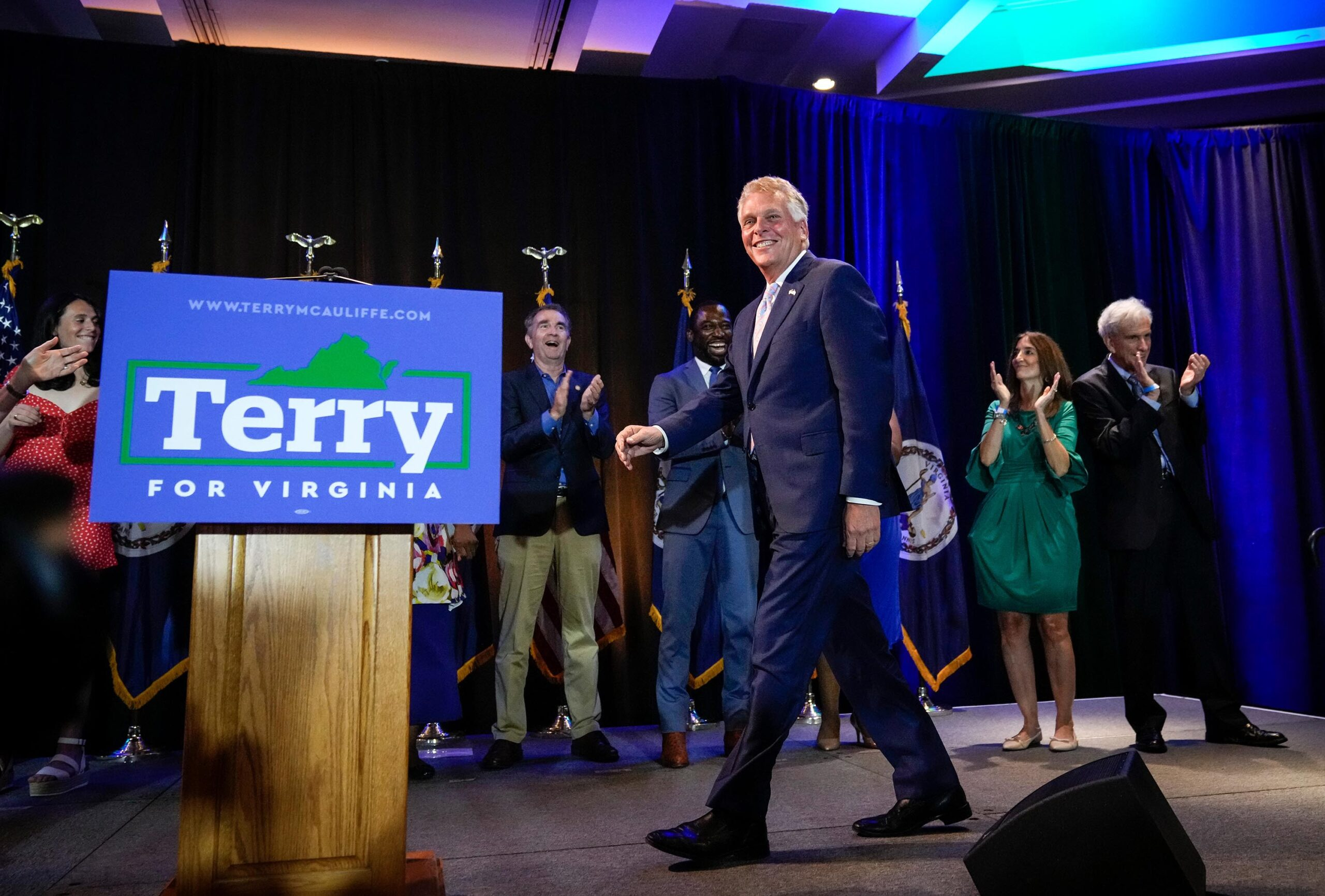 <i>Drew Angerer/Getty Images</i><br/>Virginia gubernatorial candidate Terry McAuliffe (D-VA) will receive a campaign boost from President Joe Biden who will campaign for him Friday.