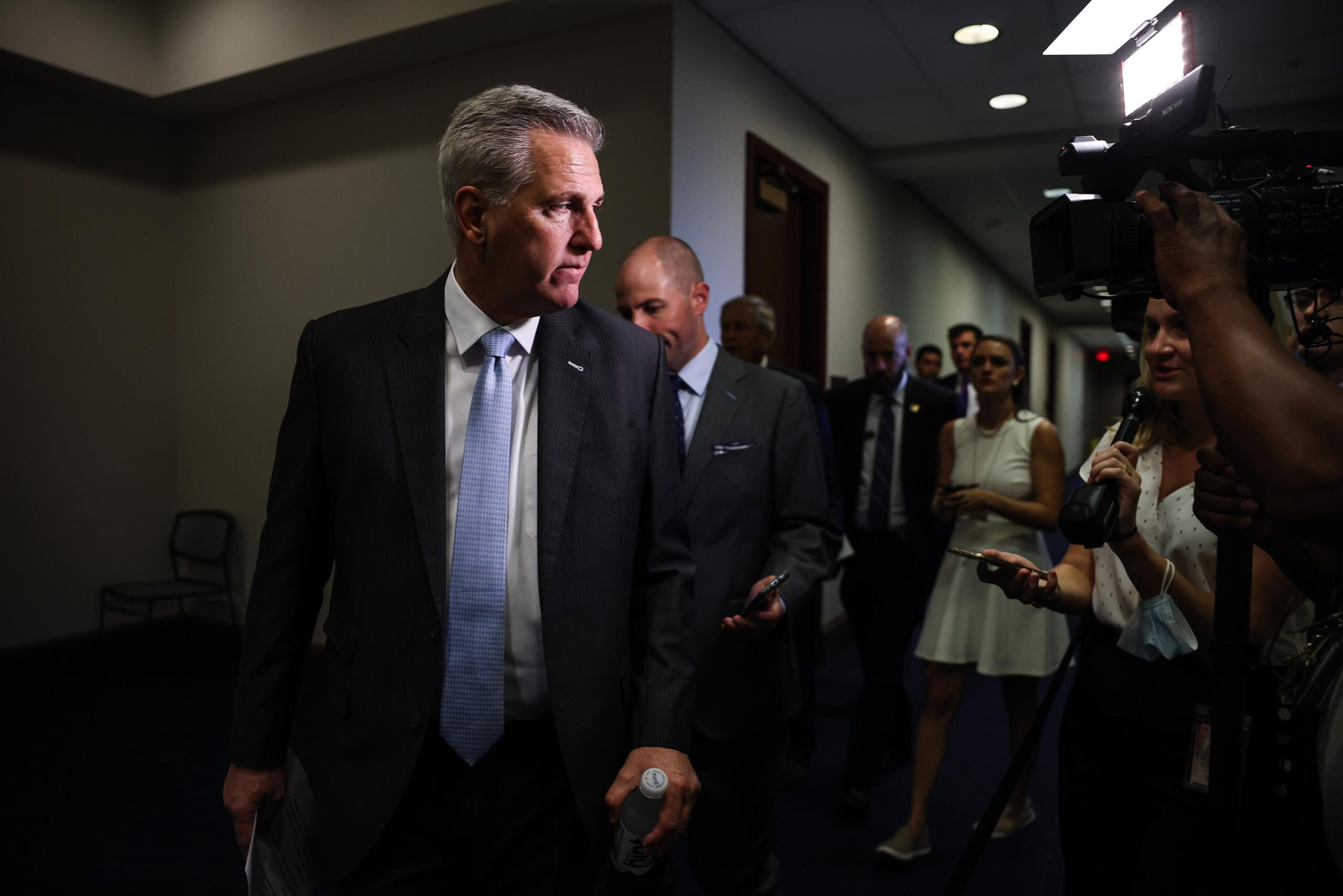 <i>Anna Moneymaker/Getty Images</i><br/>House Minority Leader Kevin McCarthy chose five Republicans to serve on the House select committee.