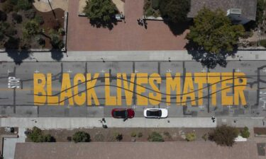 Santa Cruz police released this image showing damage to a Black Lives Matter mural. Two men are facing charges for the vandalization