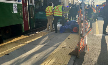 Multiple people were reported injured after the Massachusetts Bay Transport Authority said two trains collided with one another on the Commonwealth Avenue rail line in Boston.