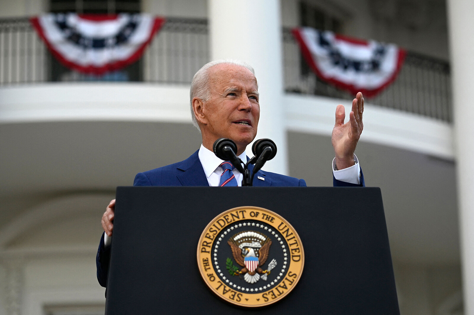 <i>Andrew Caballero-Reynolds/AFP/Getty Images</i><br/>President Joe Biden on July 21 raised the alarm about conspiracy theories flourishing in the US and dividing the nation