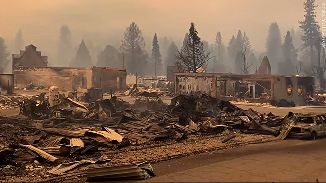 Devastation from Dixie Fire in Greenville, California, Photo Date: Aug 5, 2021