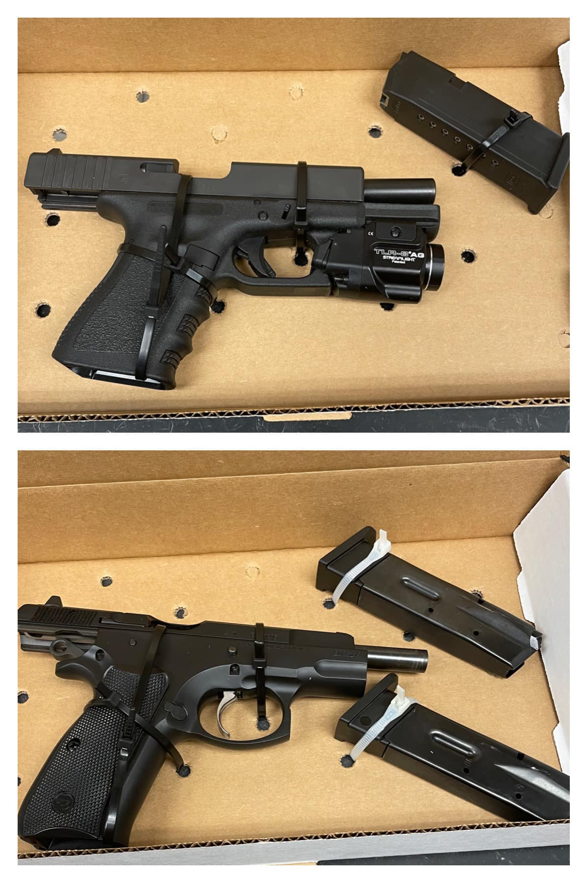 The handgun the suspected stalker was carrying were Glock 19 (top) and CZ 75 (bottom)