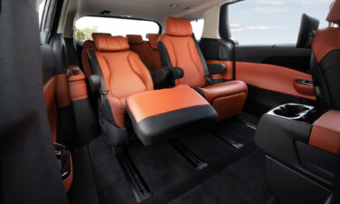 The Kia Carnival is available with reclining lounge seats in the back.