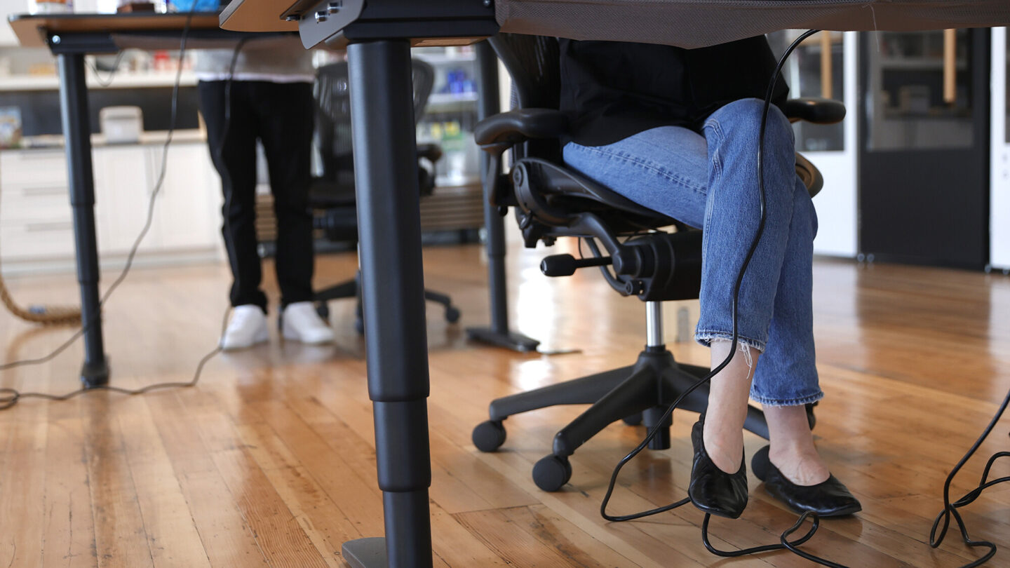 <i>Justin Sullivan/Getty Images</i><br/>Employees at tech startup company Fast work at their desks in the office on March 24