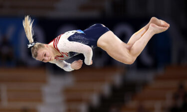 Jade Carey of Team USA competes during the women's floor exercise final at the Ariake Gymnastics Centre.