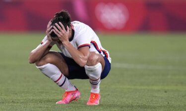 Carli Lloyd reacts after being defeated 1-0 by Canada during the women's semifinal soccer match at the 2020 Summer Olympics.