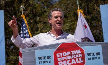 "Gov. Gavin Newsom addresses a ""Stop the Republican Recall"" rally on September 4"