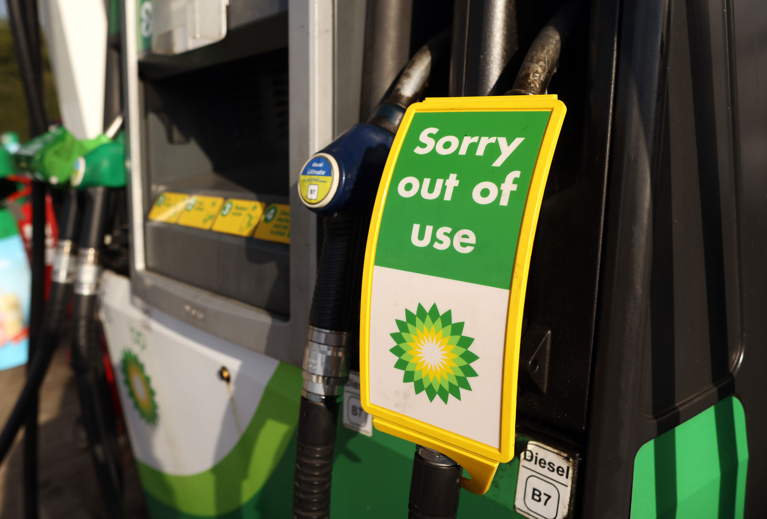 <i>Chris Ratcliffe/Bloomberg via Getty Images</i><br/>A sign reads 'Sorry out of use' on a diesel pump at a BP gas station in Brentwood