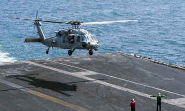 A US Navy helicopter crashed off the San Diego coast Tuesday. Pictured is an MH-60S Knighthawk helicopter landing on the flight deck of the aircraft carrier USS Harry S. Truman.