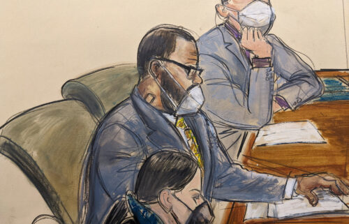 In this courtroom sketch