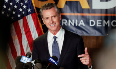 California Governor Gavin Newsom speaks after the polls close on the recall election