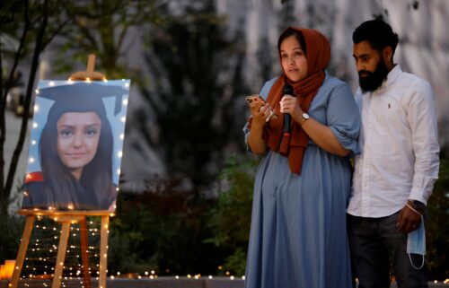 Jebina Nessa pays tribute to her sister Sabina during a vigil in London on September 24.