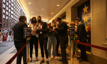 """Guests have their vaccine cards and identification checked before entering the theatre at the opening night of previews for """"Pass Over"""" at the August Wilson Theatre in Manhattan on August 4."""