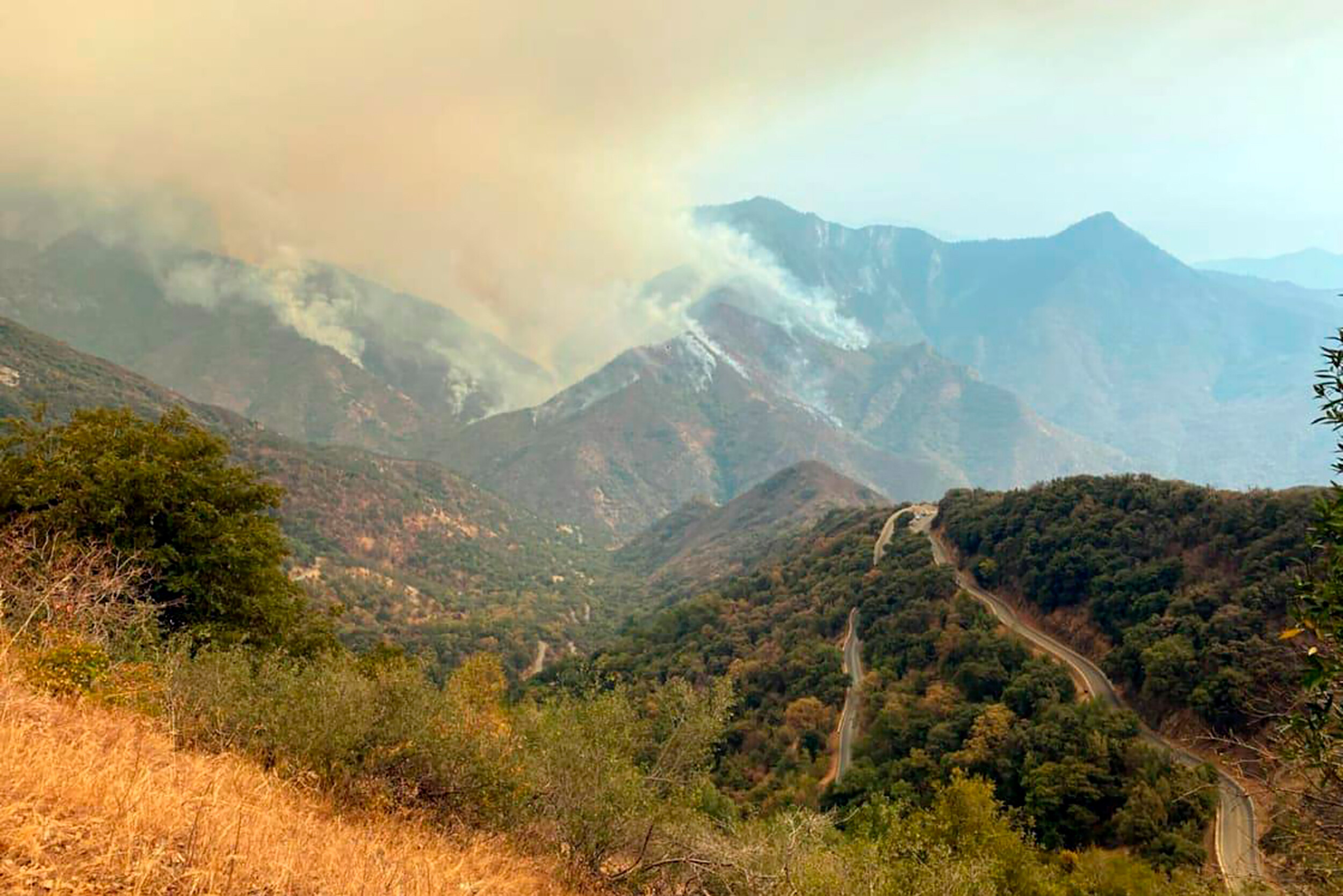 <i>KNP Complex Fire Incident Command/AP</i><br/>A pair of wildfires burning in California's parched Sierra Nevada mountains