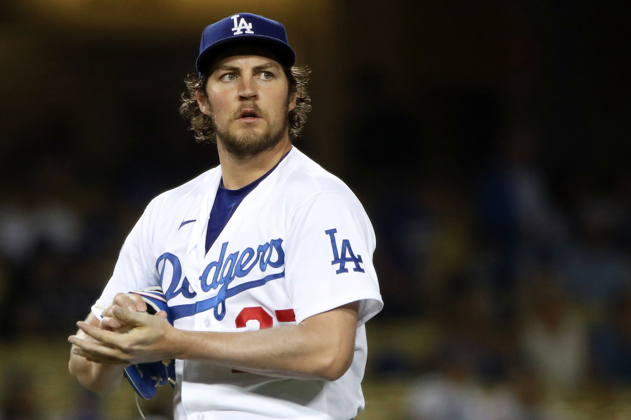 <i>Katelyn Mulcahy/Getty Images</i><br/>Los Angeles Dodgers pitcher Trevor Bauer's administrative leave has been reportedly extended through the rest of the season