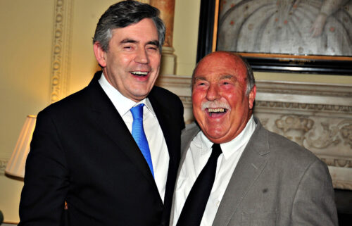 Jimmy Greaves collecting his World Cup winners medal in 2009 from then Prime Minister Gordon Brown.