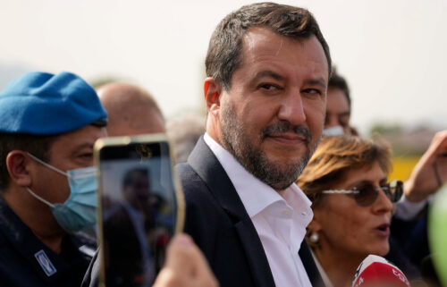 Matteo Salvini appears outside Palermo's court in Italy on Saturday