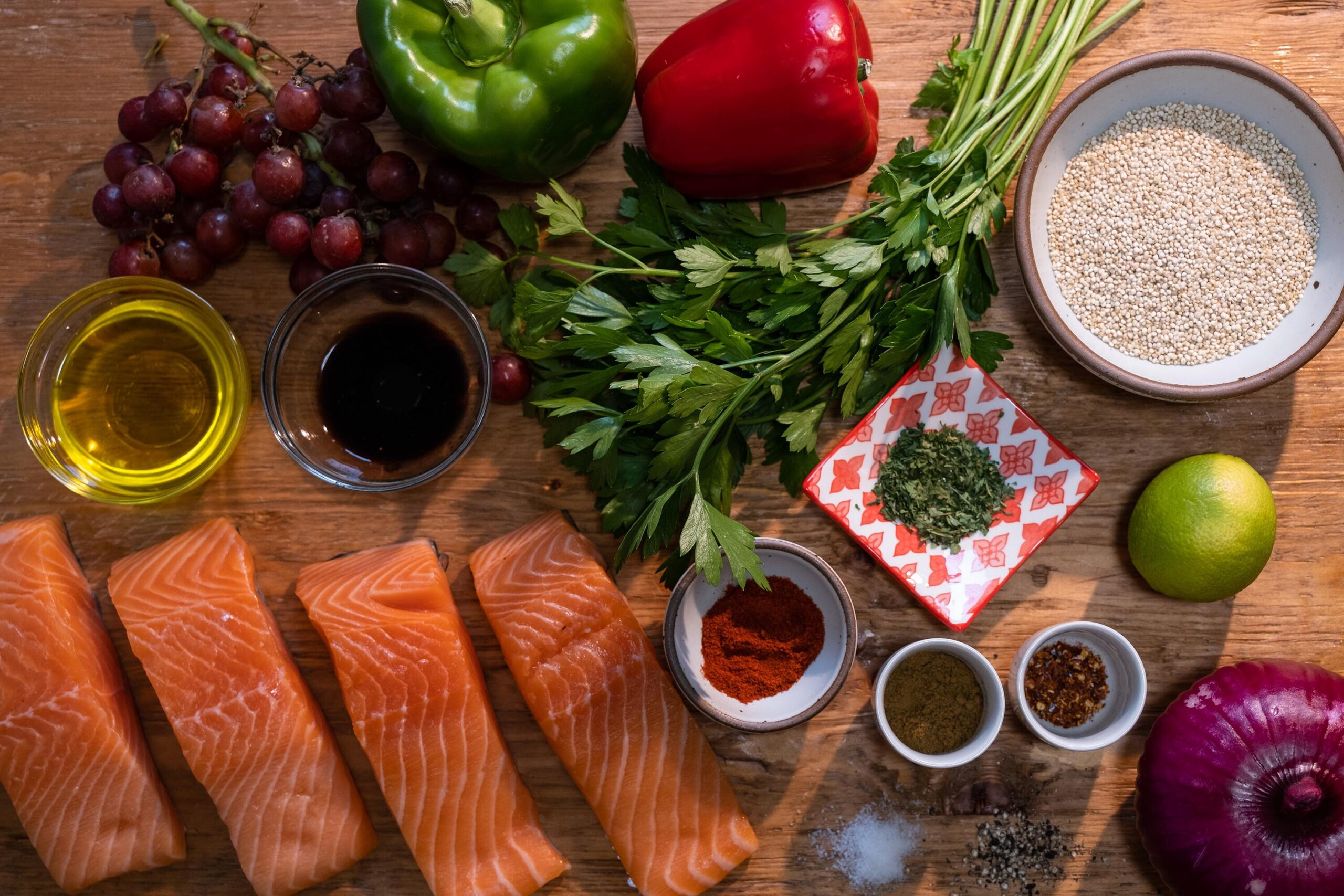 <i>Heather Fulbright/CNN</i><br/>Mediterranean-inspired grocery staples include heart-healthy fish like salmon