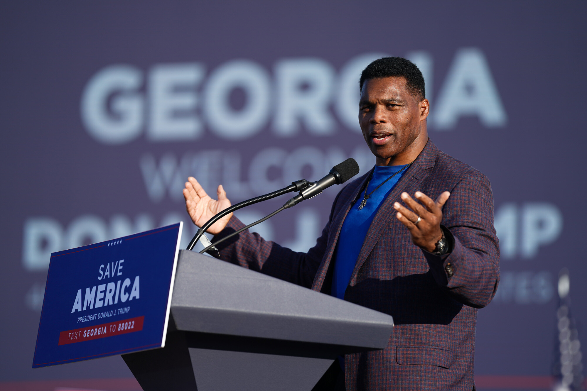 <i>Sean Rayford/Getty Images</i><br/>Republican Senate candidate Herschel Walker speaks at a rally featuring former US President Donald Trump on September 25
