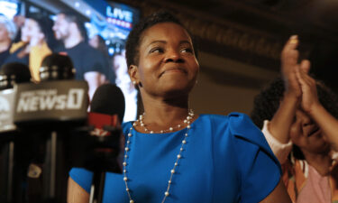 Democratic Buffalo mayoral primary candidate India Walton delivers her victory speech after defeating incumbent Byron Brown